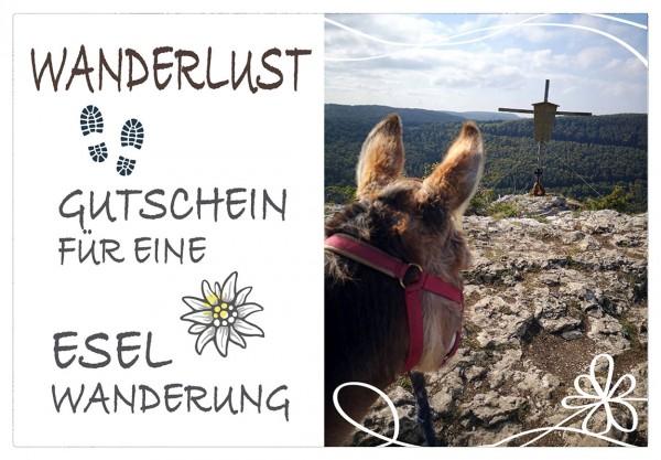 Gutschein für eine Eselwanderung als PDF-Download - 1 Esel, 1 Stunde (Motiv 2)