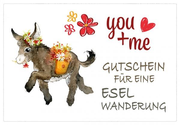 Gutschein für eine Eselwanderung als PDF-Download - 2 Esel, 2 Stunden (Motiv 5)